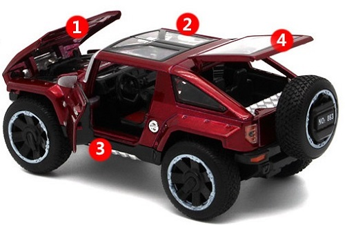 โมเดลรถเหล็ก โมเดลรถยนต์ Hummer hx 4