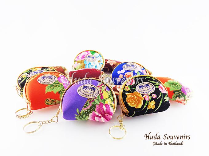 ของที่ระลึกไทย กระเป๋าใส่เศษสตางค์ ขอบทอง (ขนาด: ขอบทองใข่) ลวดลายดอกไม้ หนึ่งโหลคละสี จำหน่ายยกโหล สินค้าพร้อมส่ง