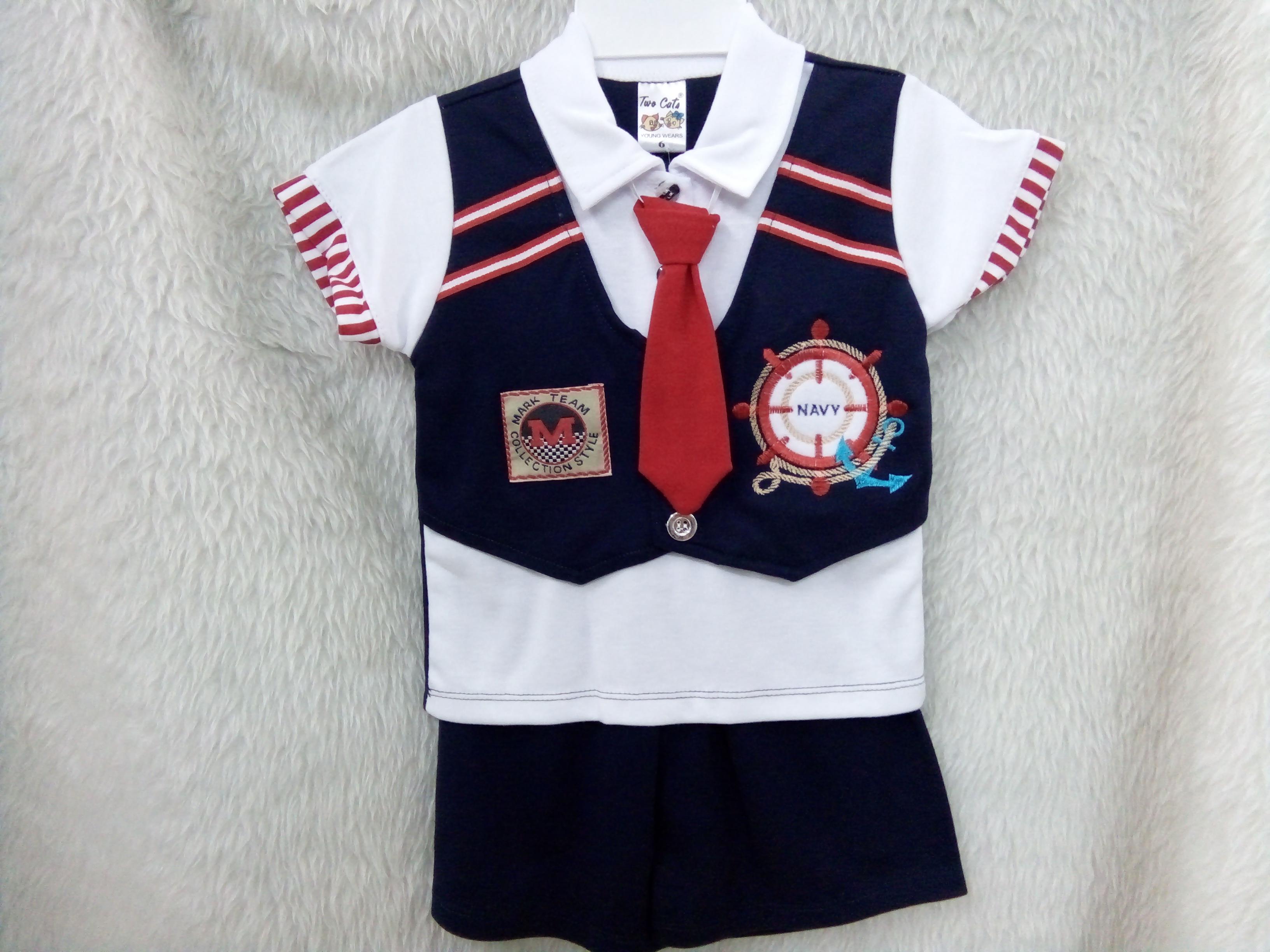 ชุดเด็กชาย วัย 1-4 ปี เสื้อยืดเนคไทสั้น พร้อมกั๊กหน้าเสื้อ หล่อน่ารักสไตล์เกาหลี
