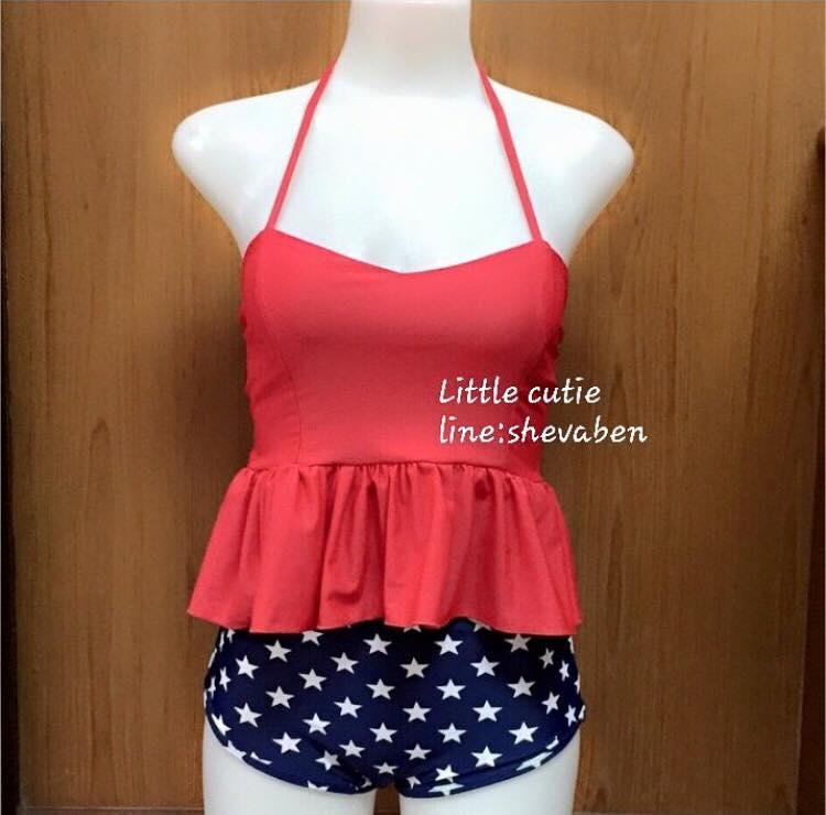 """พร้อมส่ง""""ชุดว่ายน้ำราคาถูก Pumpkin top bra บราระบายชาย ปิดพุง ผูกคอ น่ารักมากๆๆ -สีแดง"""