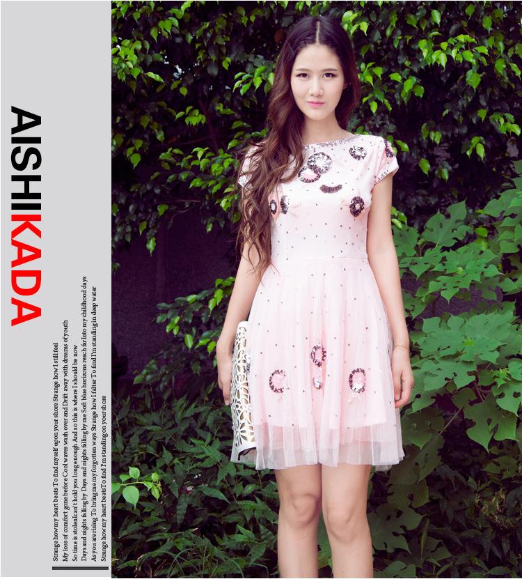 """size M""""พร้อมส่ง""""เสื้อผ้าแฟชั่นสไตล์เกาหลีราคาถูก Brand Aishikada เดรสลูกไม้สีชมพู แต่งชาย ทรงปล่อย ตัวใหญ่ แขนมีซับใน -size M"""