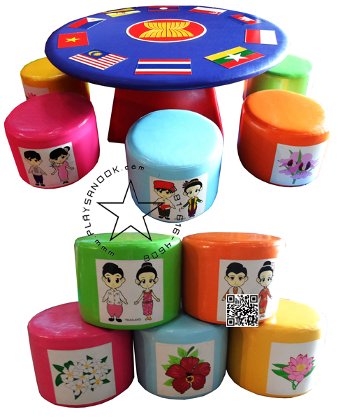 EVS-04 ชุด โต๊ะกลมอาเซียนพร้อมเก้าอี้ 10 ตัว