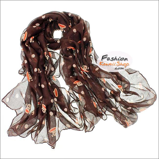 ผ้าพันคอแฟชั่น ลายลิง Paul Frank : สีน้ำตาล CK0394