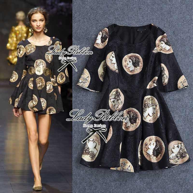Black Golden Printed Mini dress