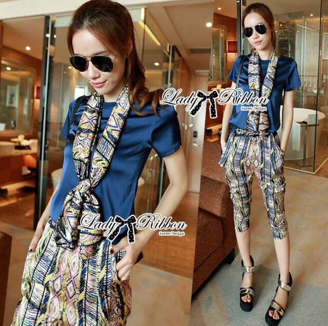 Lady Ribbon's Made Lady Violet Plain T-shirt and Print Pants with Scarf Set