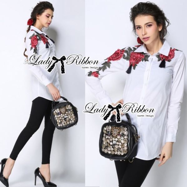 Lady Ribbon's Made Lady Jenna Rose Embroidered with Tassels Shirt