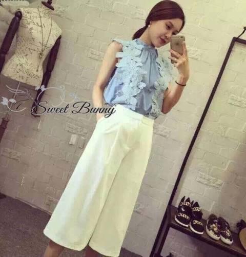 เสื้อผ้าเกาหลี พร้อมส่งเซ็ทเสื้อ+กางเกง เสื้อผ้า cotton สีฟ้า