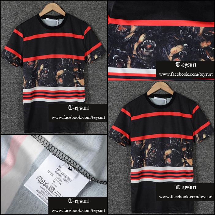 เสื้อยืดGivenchy Rottweiler-Mid Striped