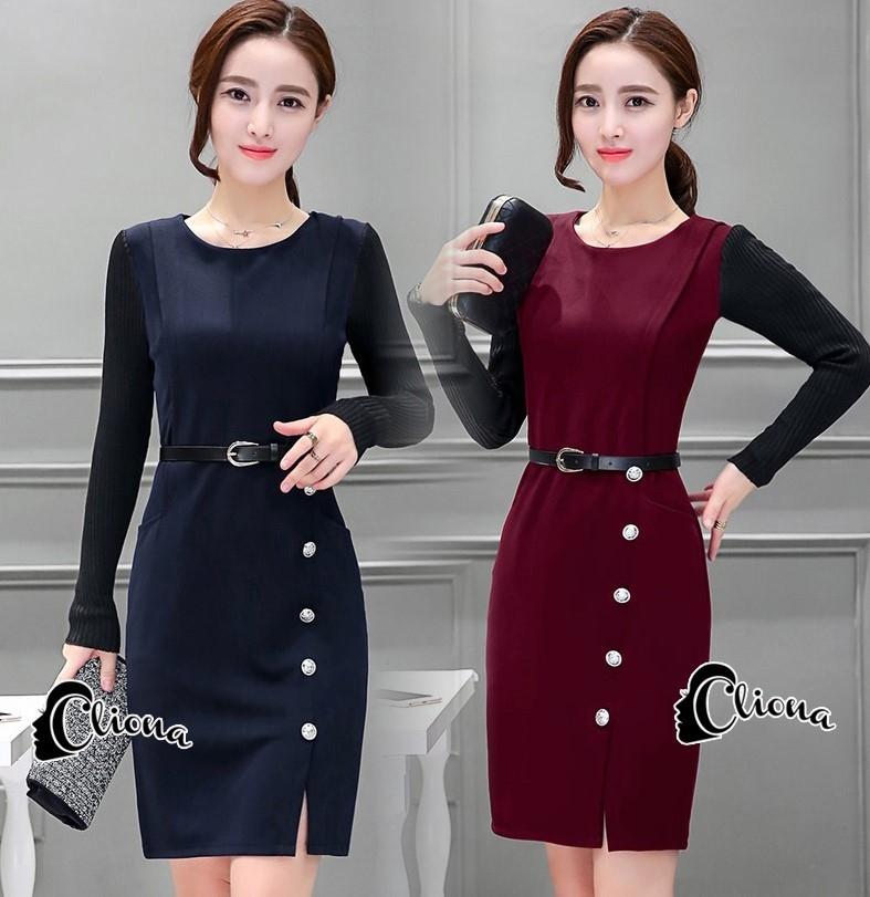เสื้อผ้าเกาหลี พร้อมส่งElegant 2 Tones Dress -mini dress