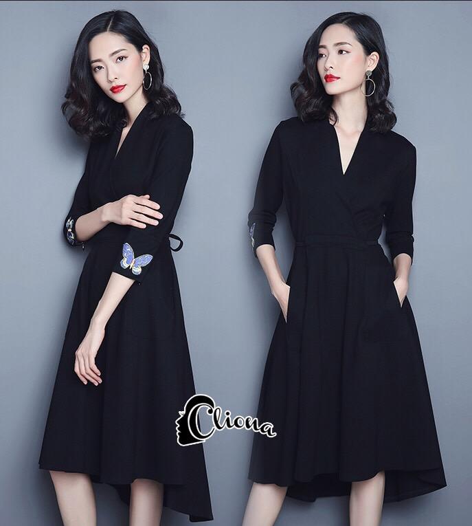 ชุดเดรสเกาหลี พร้อมส่ง Mini dress สีพื้นแขนยาว ผ้าสเปนเดก