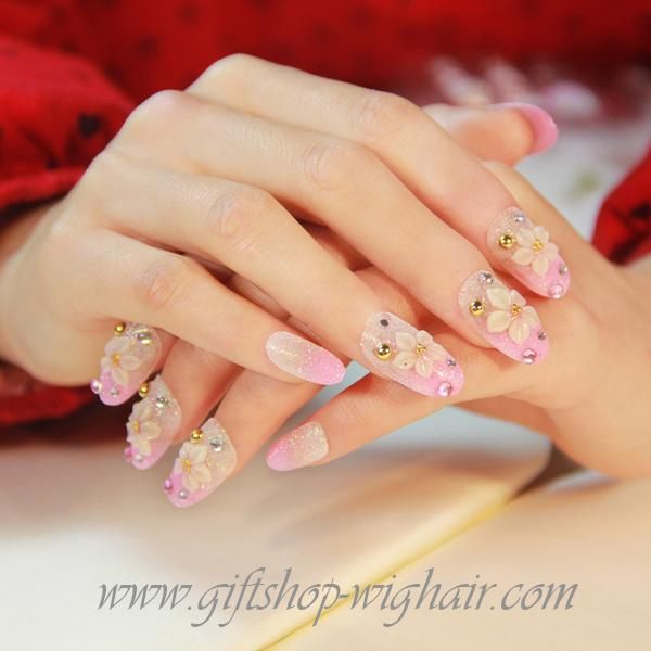 เล็บปลอมแฟชั่นประดับดอกไม้ ติดเพชรสีชมพู (Pink Nails) กล่องละ24ชิ้น (พร้อมกาวอย่างดี1หลอด)