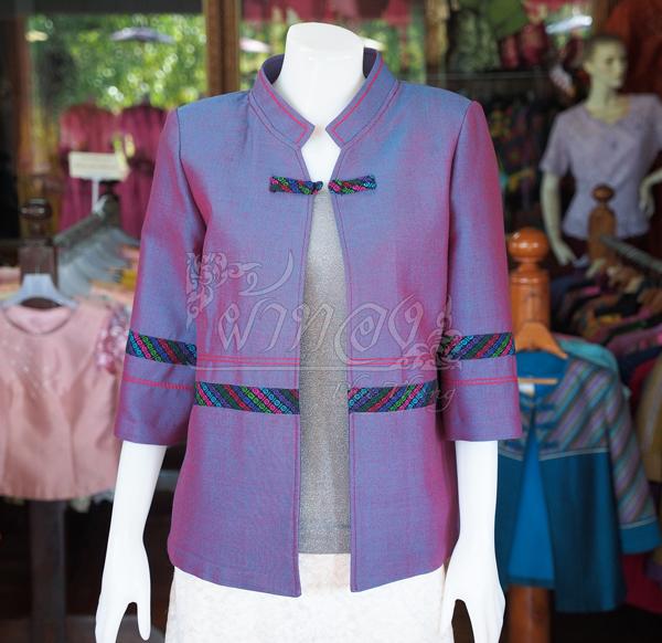 เสื้อคลุมผ้าฝ้ายสุโขทัย แต่งผ้าทอลายมุกสายรุ้ง ไซส์ 2XL