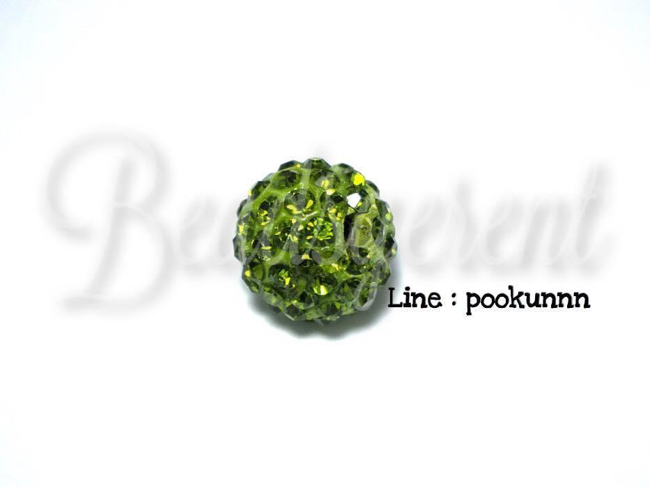 ลูกปัดฝังเพชร 12มิล สีเขียวใบไม้ (1 ชิ้น)