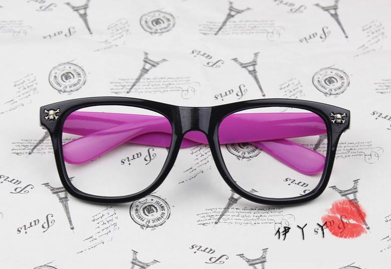 แว่นตาแฟชั่นเกาหลี กระโหลกดำโรส (ไม่มีเลนส์)