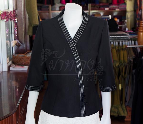 เสื้อผ้าฝ้ายสุโขทัยสีดำแต่งปักไหม ไซส์ M