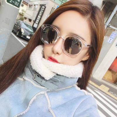 แว่นตากันแดดแฟชั่นเกาหลี กรอบขาวใส เลนส์ปรอทสีกระจก