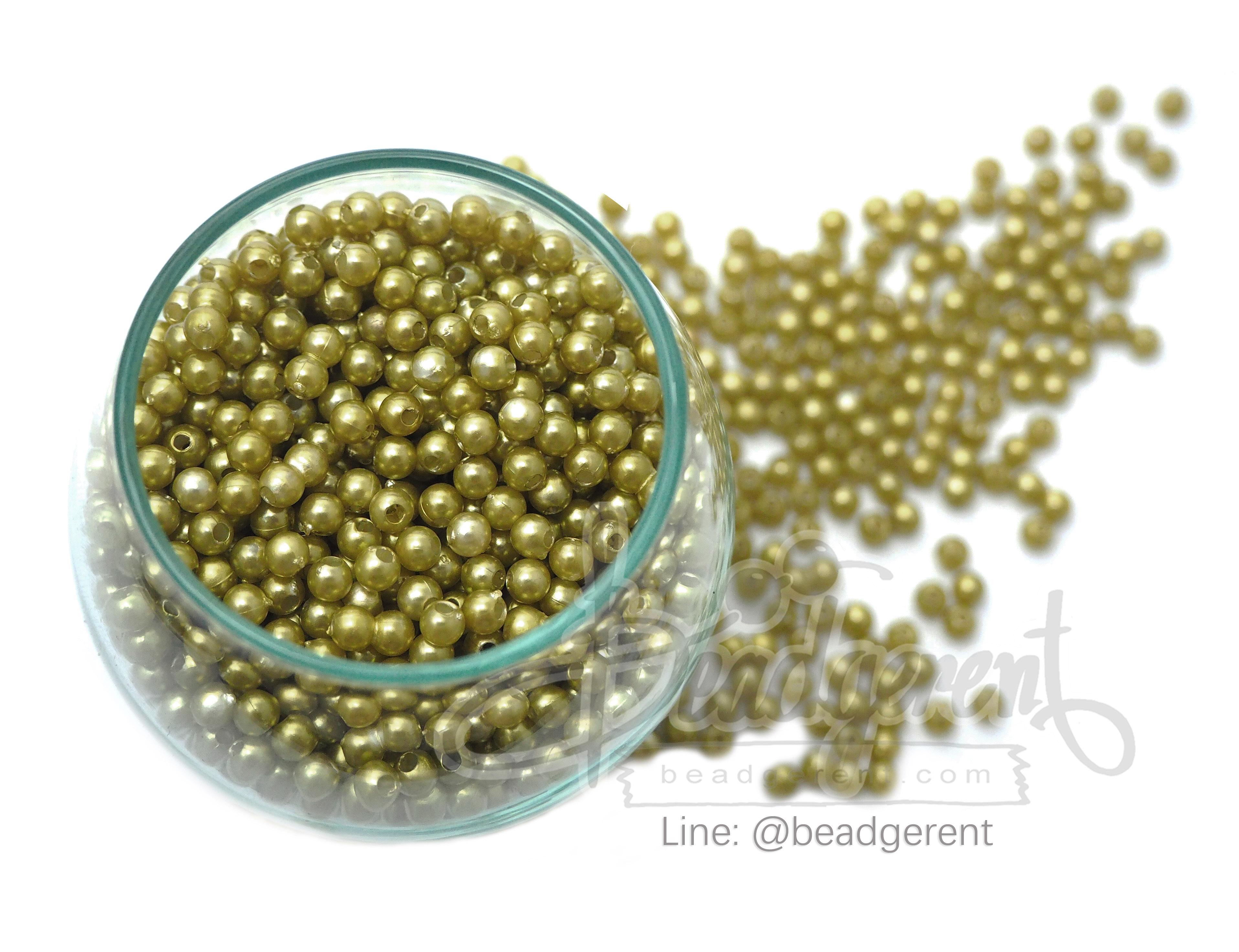 ลูกปัดมุกพลาสติก 4มิล สีเขียวแก่ (450 กรัม)