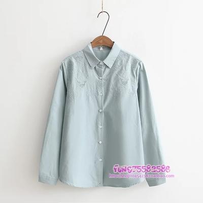P01312 เสื้อเชิ้ตแขนยาว กระดุมหน้า ผ้าฝ้ายเนื้อดี ฉลุลาย สีเทา เขียว