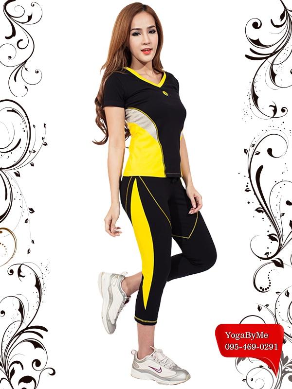AC707-41 เสื้อโยคะแขนสั้น ผ้าค๊อตต้อนสเปนเด็กซ์ สีดำ/เหลือง