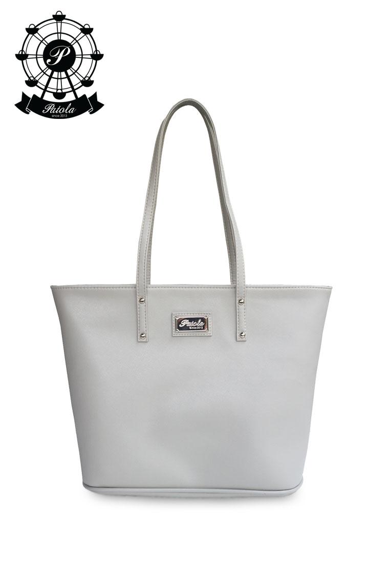 กระเป๋า Patola รุ่น M totebag หนังsaffiano สีเทา