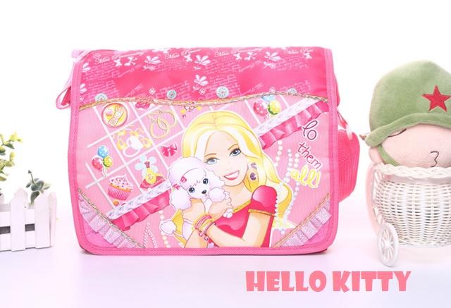 กระเป๋าสะพาย ลาย Barbie สีชมพูเข้ม ใส่หนังสือ / ใส่ของใช้ ใบใหญ่จุมาก