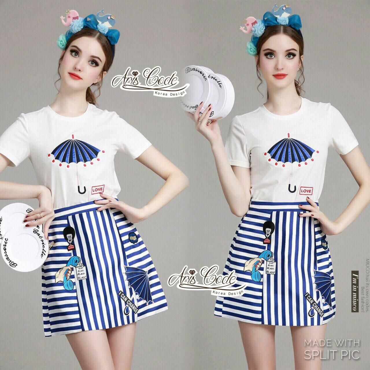 Set cartoon T-shirt embroidered skirt cute by Aris Code
