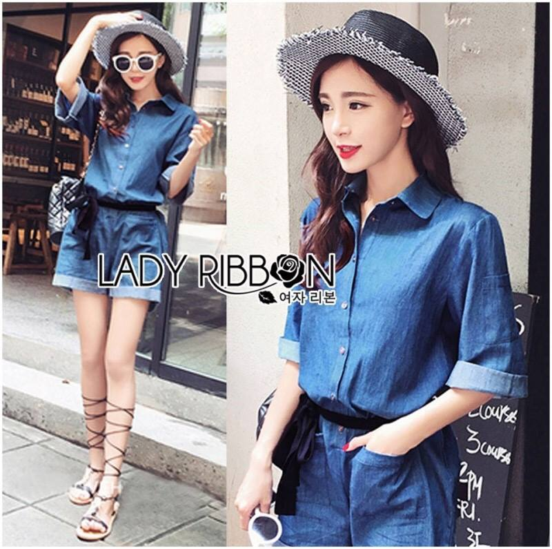 Lady Rosie Sporty Blue Denim Cotton Playsuit with Ribbon L188-69B07