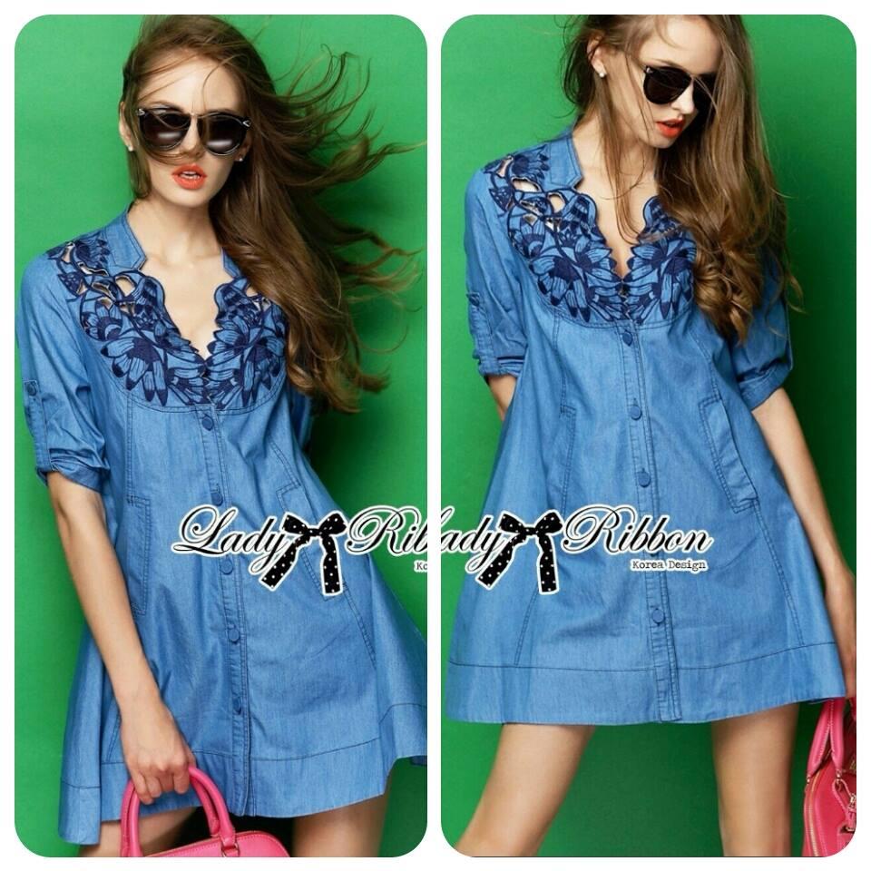 Lady Rosalie Smart Chic Embroidered Denim Shirt Dress L195-69C02