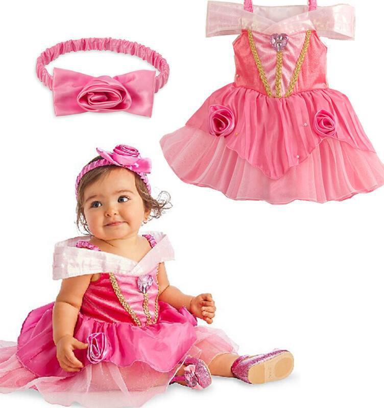 เดรสเจ้าหญิงนิทรา สีชมพูสวย การตัดเย็บดีค่ะ ไซส์ 110,120,130