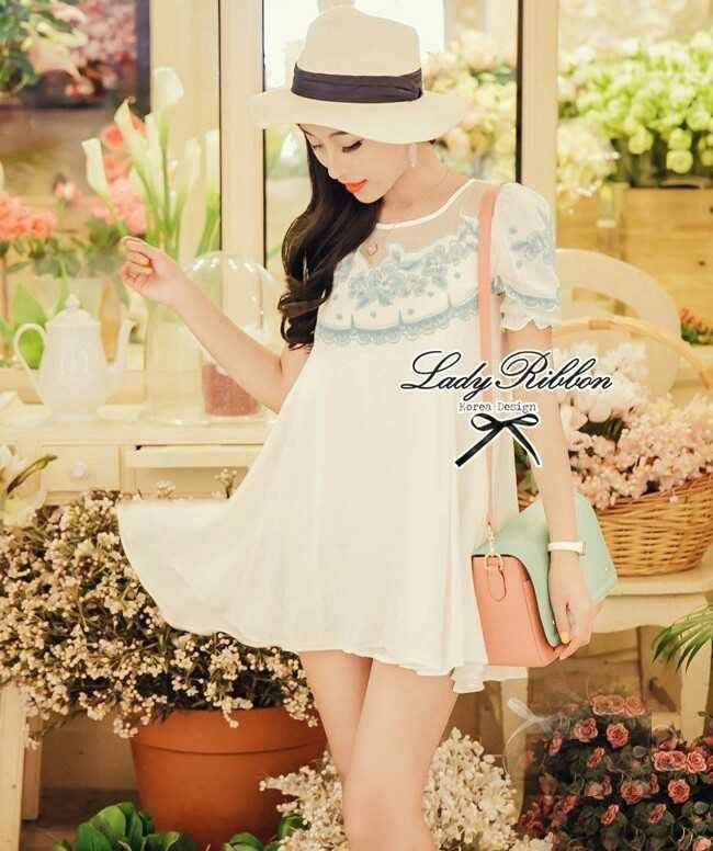 DR-LR-004 Lady Blue Blossom Embroidery Mini dress