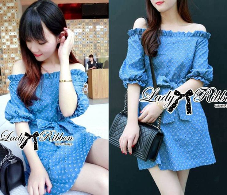 DR-LR-231 Lady Adele Off-shoulder Denim Ribbon Dress
