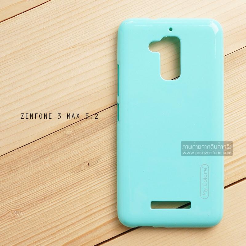 """เคส Zenfone 3 Max ZC520TL (5.2"""" นิ้ว) เคสนิ่มผิวเงา (MY COLORS) สีเขียวอมฟ้า"""