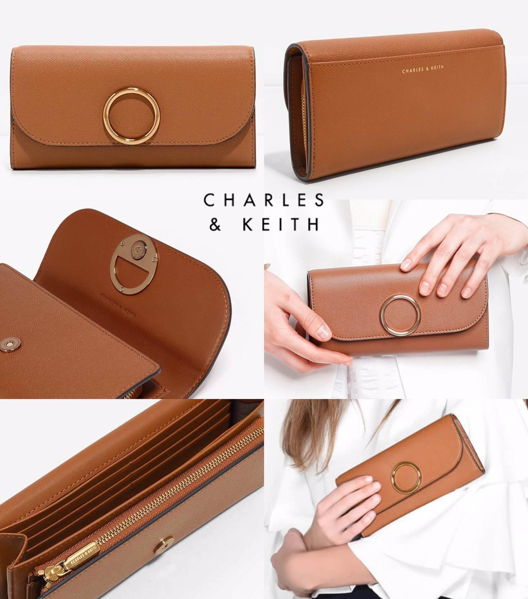 กระเป๋าเงิน ใบยาว Charles & Keith Long Wallet 2017 สีน้ำตาล ราคา 1,090 บาท Free Ems