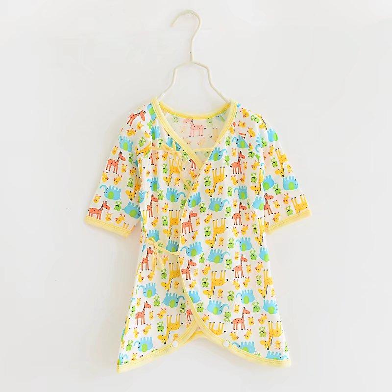 ชุดเด็กอ่อน แรกเกิด ผูกหน้า เป้ากระดุมสำหรับเปลี่ยนผ้าอ้อม - Yellow