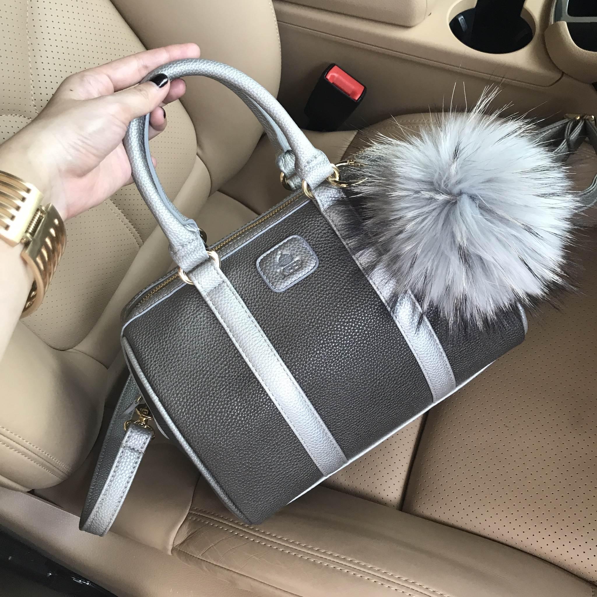KEEP Grey two tone leather Pillow bag หนังชนิดพิเศษ
