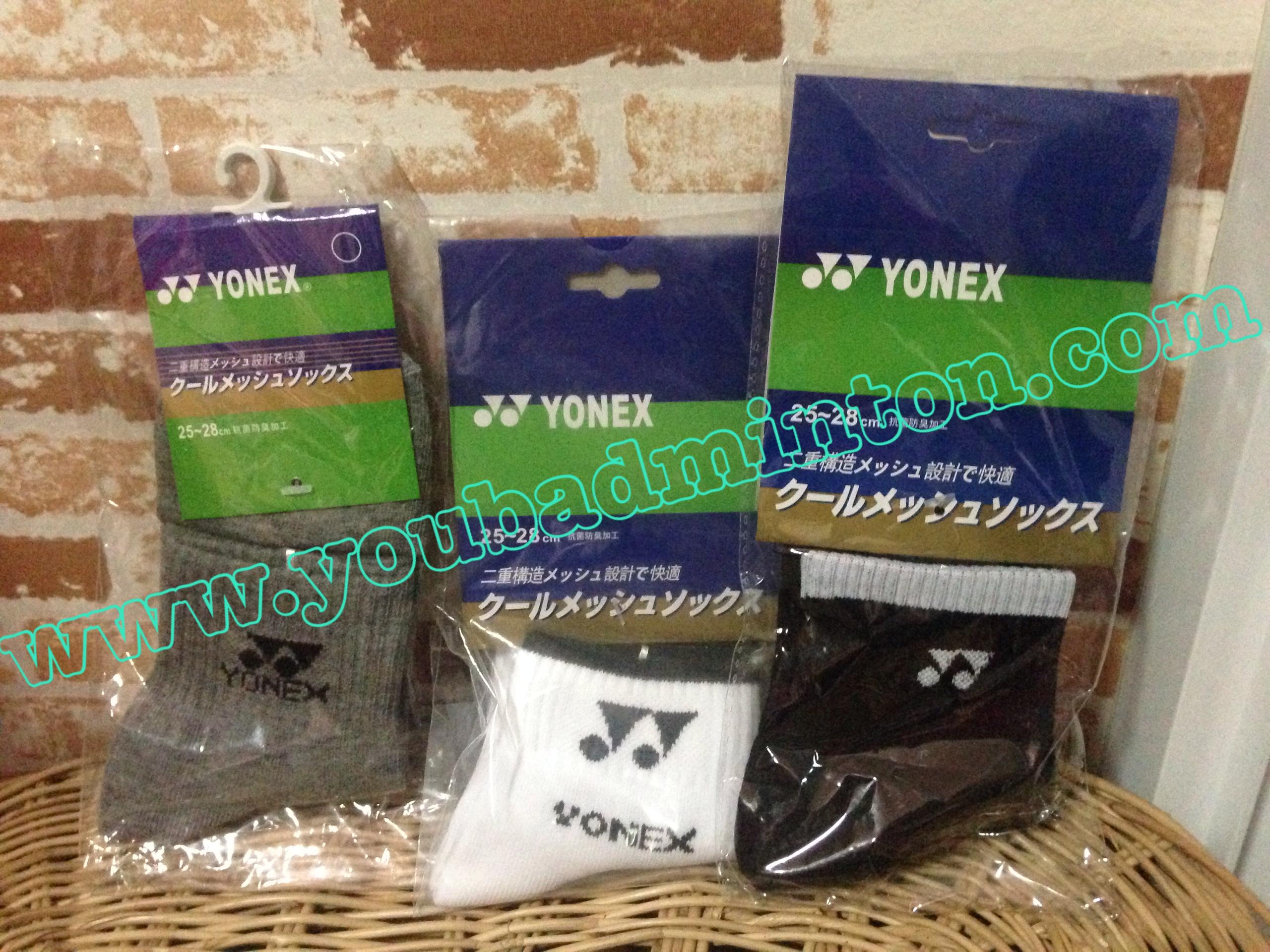 ถุงเท้า Yonex เนื้ออย่างดีนุ่มใส่กระชับสบายเท้ามากๆๆ มี 3 สี (ขาว,เทา,ดำ)