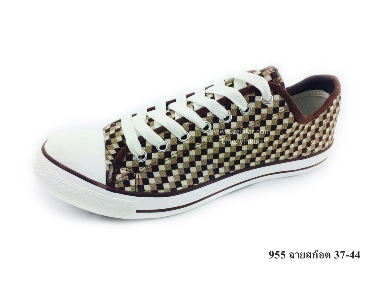 [พร้อมส่ง] รองเท้าผ้าใบแฟชั่น รุ่น 955 ลายสก๊อต
