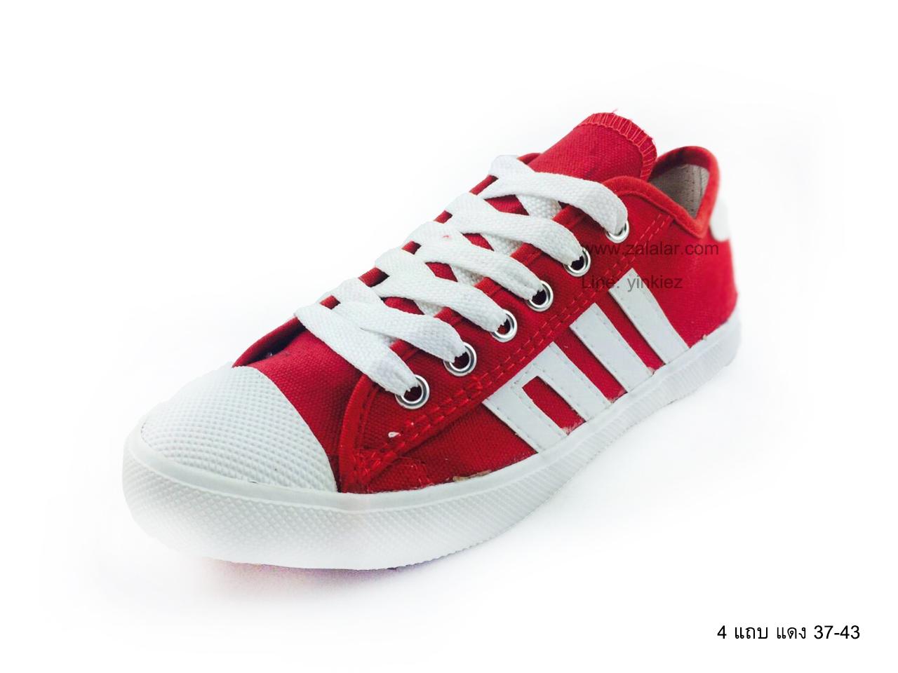 [พร้อมส่ง] รองเท้าผ้าใบแฟชั่น รุ่น 4 แถบ สีแดง