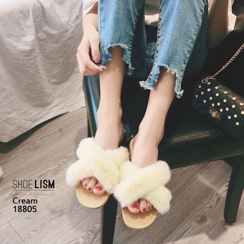 รองเท้าแตะแฟชั่น แบบสวม แต่งขนเฟอร์ฟูนิ่มสวยเก๋น่ารัก งานสวย ใส่สบาย แมทสวยได้ทุกชุด (18805)