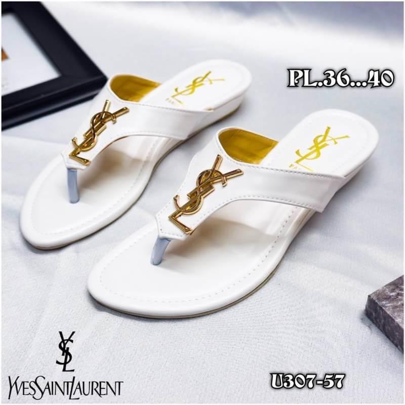 รองเท้าแตะแฟชั่น แบบหนีบ แต่งอะไหล่ ysl สวยเรียบหรูสไตล์อีฟแซง วัสดุอย่างดี หนังนิ่ม ทรงสวย ใส่สบาย แมทสวยได้ทุกชุด (U307-57)