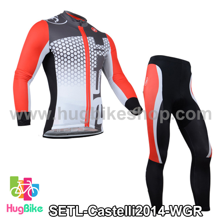 ชุดจักรยานแขนยาวทีม Castelli 14 สีขาวเทาแดง สั่งจอง (Pre-order)