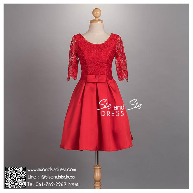 sd1072 ชุดงานหมั้น ชุดยกน้ำชา สีแดง แขนสามส่วน ผ้าลูกไม้ซีทรู กระโปรงทวิสต์ สวย หวาน หรู น่ารักมากๆ