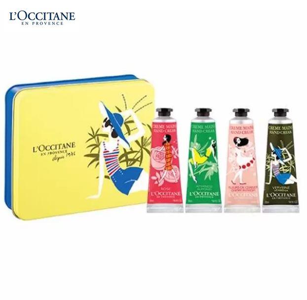 *พร้อมส่ง*L'Occitane Hand Cream Quatour Set เซ็ทแฮนด์ครีมขายดี 4 กลิ่น มาในกล่องสวยงามเลอค่า บนแพ็กเกจ 4 สไตล์ทั้งสี่ชิ้นถูกวางอยู่ในกล่องโลหะ Limited-edition มอบคุณสมบัติในการถนอมผิวและปกป้องผิวด้วยส่วนผสมที่เหลือเชื่อ เนื้อสัมผัสเข้มข้น เรียบเนียน