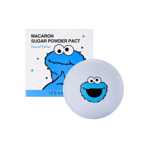 **พร้อมส่ง**It's Skin X Sesame Street Macaron Sugar Powder Pact Special Edition 60ml. แป้งอัดแข็งเนื้อนวลเนียน ปกปิดเนียนกริบ มี 2 เฉดสี ตลับเป็นลายมากาฮองเช่นกัน อยากลองเลย ,