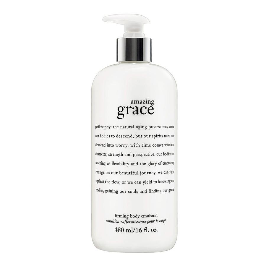 **พร้อมส่ง**Philosophy Amazing Grace Perfumed Firming Body Emulsion 480 ml. อิมัลชั่นสำหรับผิวกาย พร้อมด้วยกลิ่นหอมจากน้ำหอม amazing grace คือบอดี้มอยซ์เจอไรเซอร์ที่ได้รับรางวัลของเรา สำหรับผิวทีแห้งกร้าน หรือมีริ้วรอยแห่งวัย ด้วยกลิ่นหอมหวานอ่อนโยนที่นำด