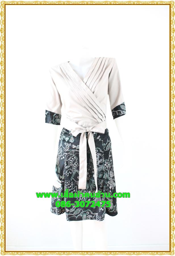 2945เสื้อผ้าคนอ้วน ชุดทำงานชุดกระโปรงคอวีตีเกล็ดไขว้กระโปรงแยกย้วย6ชิ้น แขนยาวทรงสุภาพสวมใส่ทำงานสไตล์สาวอกอวบใหญ่