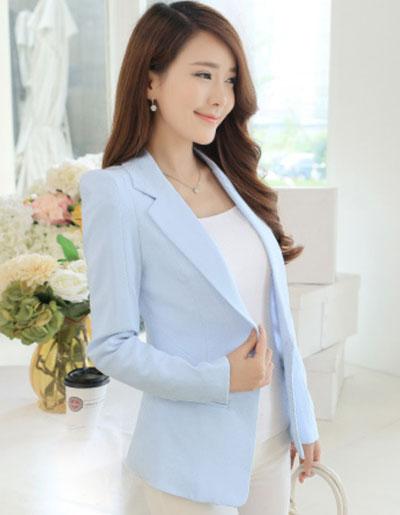 เสื้อสูทผู้หญิงแฟชั่นสีฟ้า แบบสวยหวานสไตล์เกาหลี 5 ไซส S/M/L/XL/2XL รหัส 1824