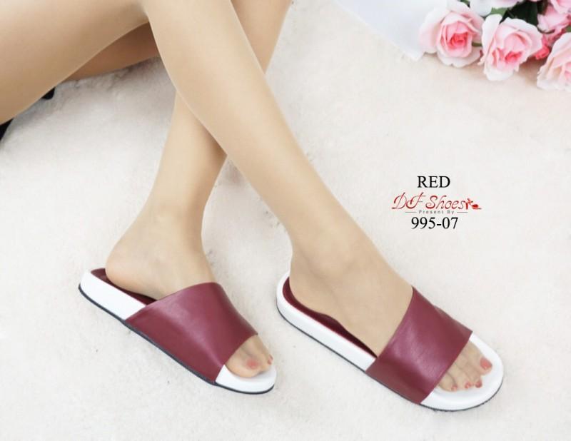 รองเท้าแตะ เปิดส้น พื้นนุ่มมาก ใส่สบาย (สีแดง )