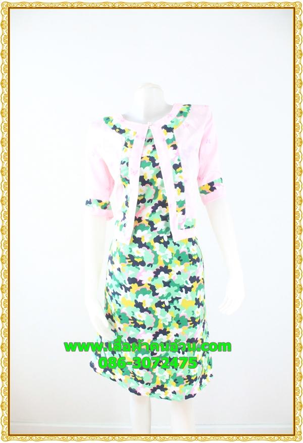 3016เสื้อผ้าคนอ้วน เสื้อผ้าแฟชั่นคอกลมตัวในมีตัวนอกคลุมทับลายเขียวสไตล์หวานเรียบร้อยสุภาพเป็นทางการ