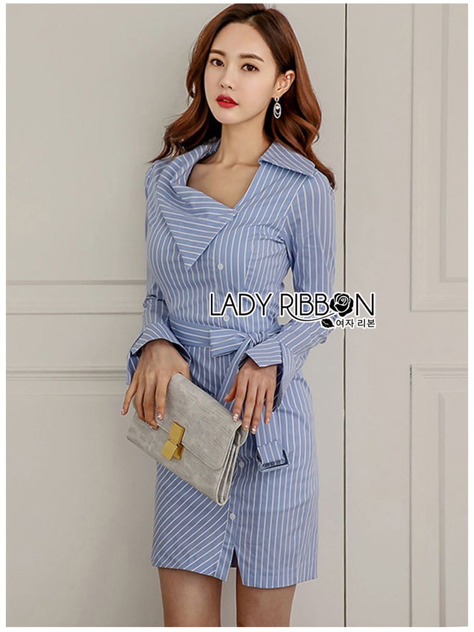 🎀 Lady Ribbon's Made 🎀 Lady Jennifer Sexy Chic Striped Shirt Dress